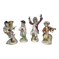4 Scheibe Alsbach Dresden German Porcelain Monkey Band Figurines