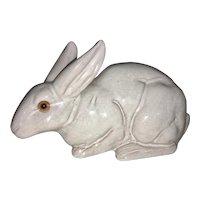 Vintage French Art Pottery Bunny Rabbit Statue Faience Tin Glaze Glass Eyes