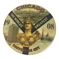 1908 Republican National Convention Chicago IL Political Celluloid Pin Button President Taft