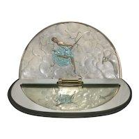 Erte / Romain De Tirtoff  Joy of Life Art Deco Style Bronze & Glass Boudoir Vanity Mirror #98/250 With Swivel Design Sculpture