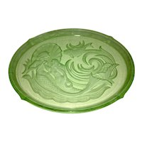 Art Deco Czech Uranium Vaseline Glass Tray Walther & Sohne Sea Nymph Mermaid