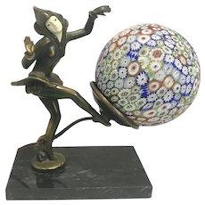 1930'S Art Deco JB Hirsch Gerdago Pixie Dancer Metal Lamp Millefiori Cane Glass Globe