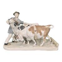 "Large Vintage Meissen German Porcelain Group By Otto Pilz ""Peasant with Cows"" Sculpture"
