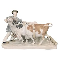"Large Vintage Meissen German Porcelain Group By Otto Pilz ""Peasant with Cows"" Sculpture"
