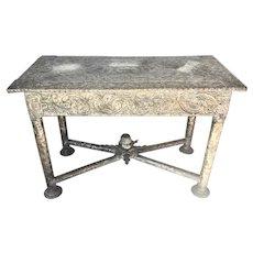 Antique Continental Silver Plate Copper Repousse On Wood Pier Console Table Acorn Finial Scrolls Oak Leaves