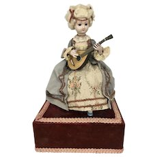 Vintage Reuge Swiss Automaton Musical Lady Doll Playing A Mandolin Wind Up