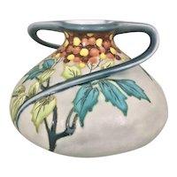 Boch Freres Keramis Belgian Art Nouveau Pottery Vase Swirled Handles Enameled Foliage Berries
