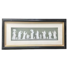 Large Antique Framed Green Wedgwood Jasperware Fireplace Plaque Tile Frieze Neoclassical Scene England Jasper Ware
