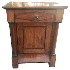 Antique European Biedermeier Walnut Small Side Table Chest Cabinet W Columns Bronze Ormolu Mounts