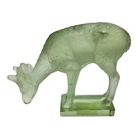 Lalique France Frosted Art Glass Fawn Deer Paperweight Green Cubist Figurine