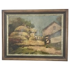 "1955 Sandor Basilides Hungarian Artist Oil Painting Framed ""Cseples"" Farm Scene (1901-1980)"