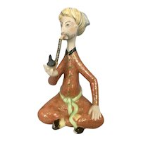 Small Herend Hungary Porcelain Persian Man Smoking A Pipe Great Colors