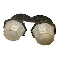 Pair French Art Deco Wrought Iron Sconces W Sabino Frosted Glass Shades Ceiling Light Fixture