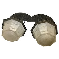Pair French Art Deco Wrought Iron Sconces W Sabino Frosted Glass Shades Ceiling Light