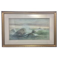 William (Wilhelm) Frederick Ritschel (1864-1949) Original Water Color Painting Seascape Sea Marine Shipwreck