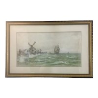 William (Wilhelm) Frederick Ritschel (1864-1949) Original Water Color Painting Dutch Seascape Sea Marine Ship Windmill