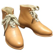 Pair Royal Bayreuth Bavaria Porcelain Shoes High Top Boots In Miniature W Laces #22 On Each