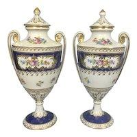 "Pair Vintage Dresden German Saxon Porcelain Lidded Urns Vases Neoclassical 10"""