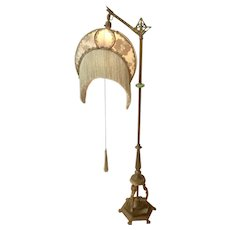 Art Deco Cast Iron Figural Floor Lamp W 3 Nude Nymphs Crescent Shape Silk Shade Tassels Jade Glass Spacer