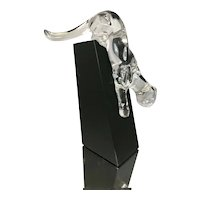 """Baccarat France Crystal Panther """"Lying In Wait"""" Cat Sculpture W Black Stand & Original Box Figurine"""