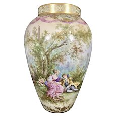 1897 D & Co Limoges France Hand Painted Large Vase Signed M Schroeter Romance Landscape Sheep Chicks