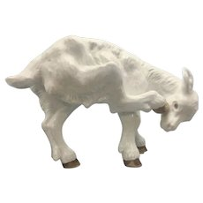 Vintage Life-size Bavent France Faience Glazed Terra Cotta Goat Kid French Art Pottery