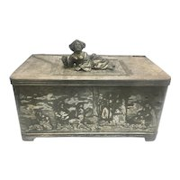 Antique Simpson Hall Miller Victorian Silver Quad Plate Cigar Humidor Trinket Box W Chinese Woman Finial Carpet Etched Scenes