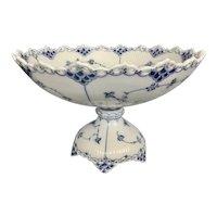 Large Royal Copenhagen Porcelain Blue Fluted Full Lace Pierced Compote Denmark Floral Blue White