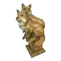 Montana Artist Sherry Salari Sander Bronze Wildlife Sculpture Pair Fox Foxes Ltd Ed 46/50