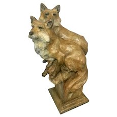 Montana Artist Sherry Salari Sander Bronze Wildlife Sculpture Pair Fox Foxes Ltd Ed 46/50