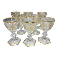 8 Baccarat France Cut Crystal Empire Harcourt White Wine Glasses Gold Trimmed French