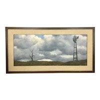 Vintage 1960's Artist Michael Sarraille Oil Painting On Board Realism Landscape CA Plein Air Windmill