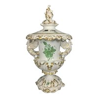 Herend Hungary Porcelain Potpourri Lidded Urn Cache Pot Vase Centerpiece Chinese Bouquet Green Pattern