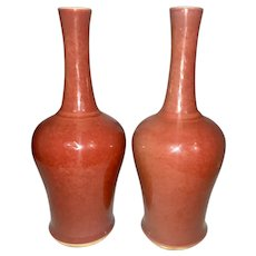Pair Fine Old Chinese Export Porcelain Peach Bloom Mallett Vases Kangxi Circles Foot Oxblood