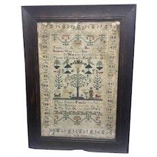 18th Century Framed Needlework Sampler Dated 1760 Framed Couple W Dogs Tree Needlepoint