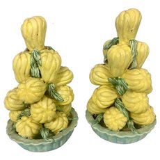 Vintage Majolica Maiolica Pottery Stacked Squash In Pot Italy Vegetable