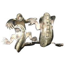 Pair Rare Los Castillos Mexico Silver Plate & Stone Salamander Lizard Napkin Rings