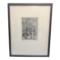Listed Artist James Swann Etching Drypoint Art Framed DRENCHED