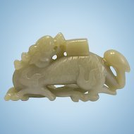 Chinese Jade Jadeite Stone Carving Food Lion Dragon