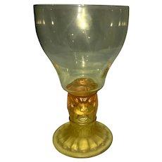 Art Deco Sweden Pukeberg Amber Vaseline Glass Wine Goblet Stylized Lion Design