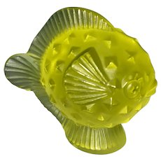 Lalique France Yellow Glass Frosted Blowfish Fish Paperweight Signed