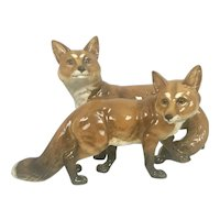 Vintage German Hutschenreuther Porcelain China Fox Group Germany Figurine Max Fritz