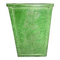Chinese Export Mottled Green Porcelain Square Vase W Raised Foliage Marked