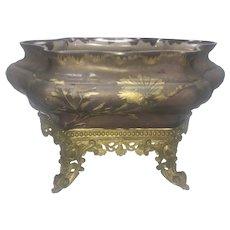 Burgun & Schverer Verrerie D'Art De Lorraine France Cameo Glass Jardiniere Bowl Mounted On Bronze Stand Martele