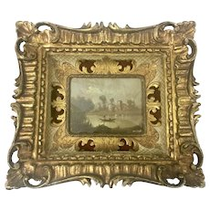 Old Florentine Gilt Wood Framed Miniature Oil Painting Signed Florence Italy