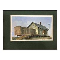 Glen Winterscheidt Car Designer Watercolor Painting Warren MI Train Station Railroad