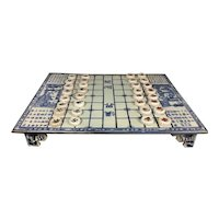 Vintage Chinese Export Blue & White Porcelain Xiangqi Game Board Chess W 32 Pieces