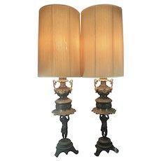 19th C Baroque Style French Italian Bronze Figural Cherub Lamps