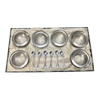 6 Vintage Webster Pierced Sterling Silver & Glass Salt Cellars & Spoons W Original Box