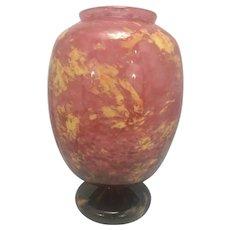 """French Art Deco Schneider Signed Mottled Glass Vase 12"""" Tall Fantastic!"""